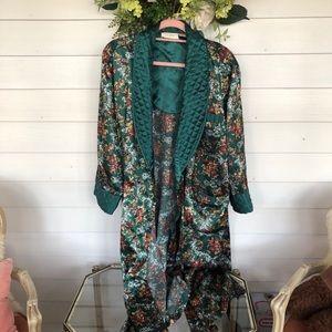 Vintage Victoria's Secret long satin emerald robe